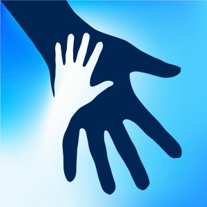 child-hand-cuts-out-adult-hand-sky
